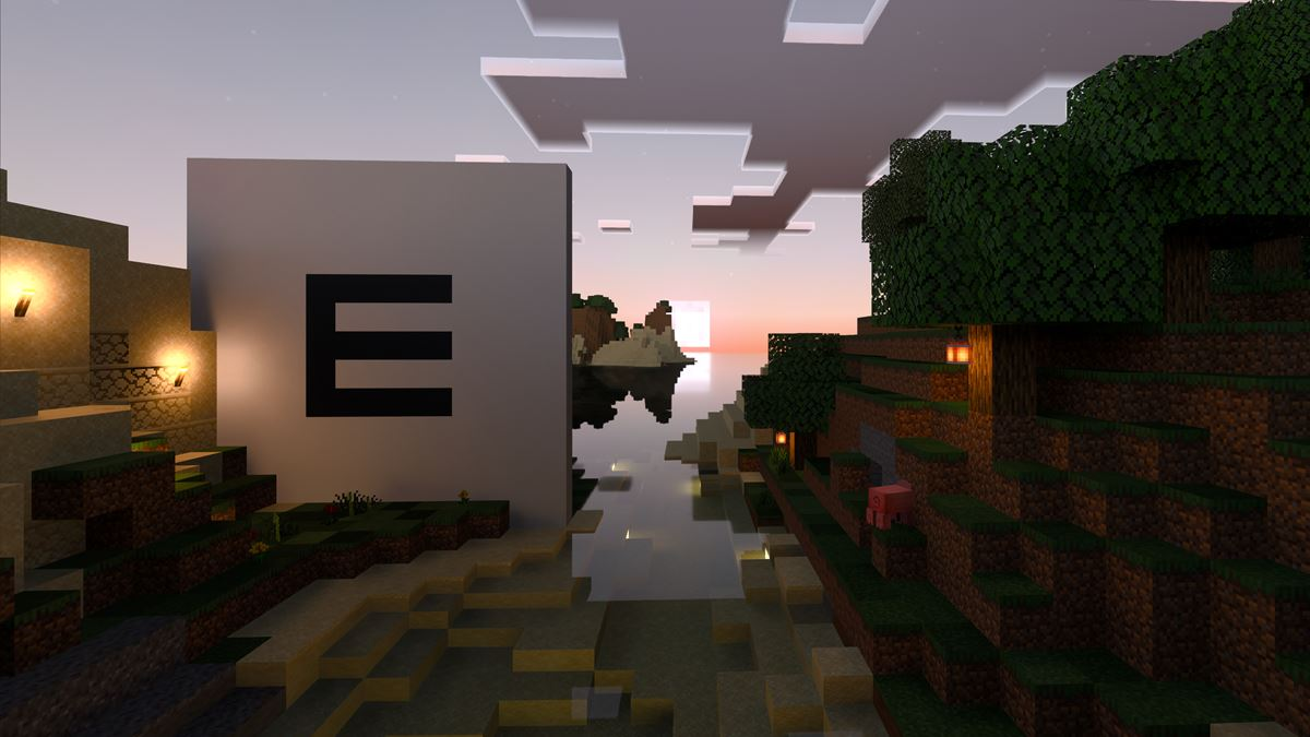 Epinova logo in Minecraft sunrise graphics